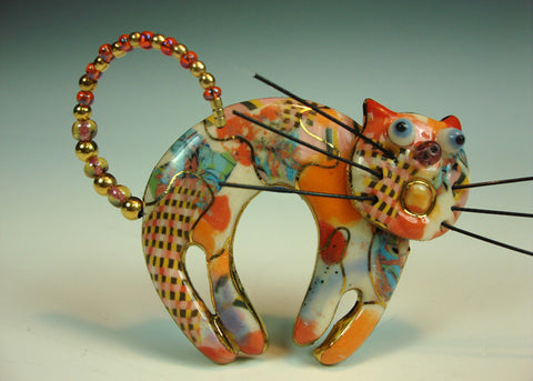 Cat Salmon color Porcelain pin and mixed media