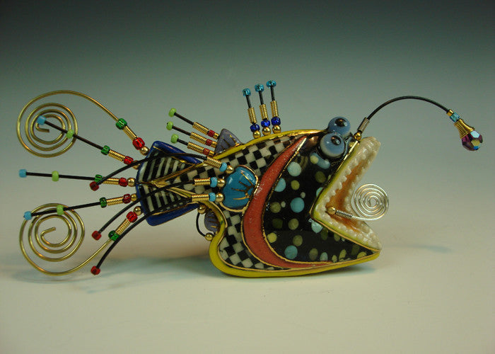 RockFish Porcelain and mixed media pin