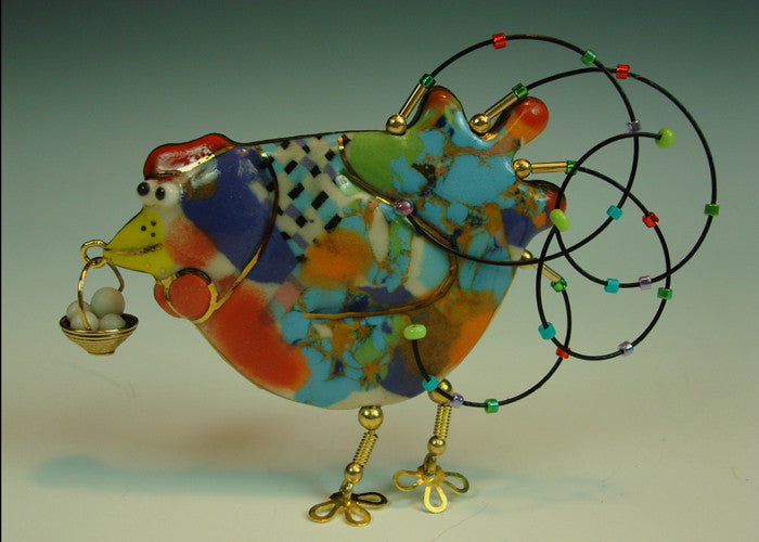 Hen Porcelain and mixed media pin