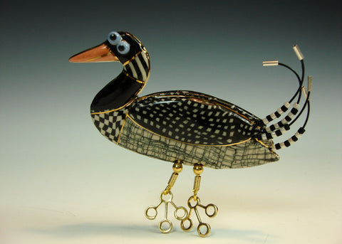 Loon porcelain and mixed media pin