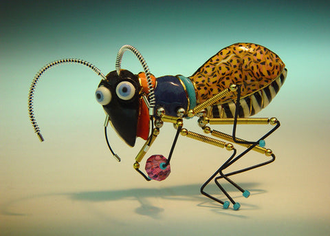 Hard Working Ant porcelain and mixed media pin