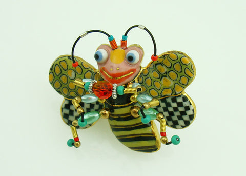 Bee porcelain and mixed media pin