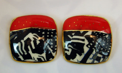 Rounded square earrings (black, red and white)