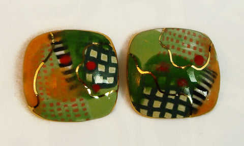 Rounded square earrings (green tones)