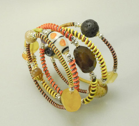 "Mixed Stone Memory Wire Wrap Bracelet ""Citrus"""