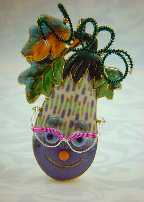 Eggplant Porcelain and mixed media pin