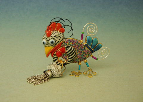 Chicken Hatchila porcelain and mixed media pin