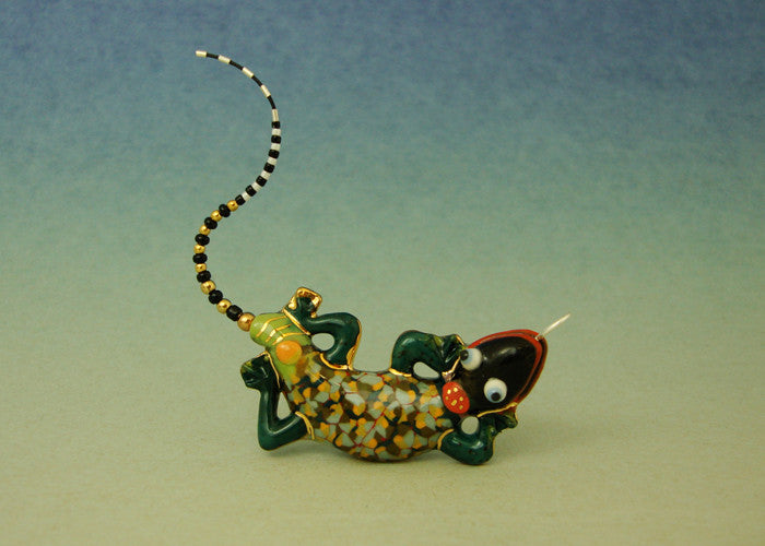 Baby Gecko porcelain and mixed media pin