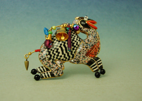 Camel Loading porcelain and mixed media pin