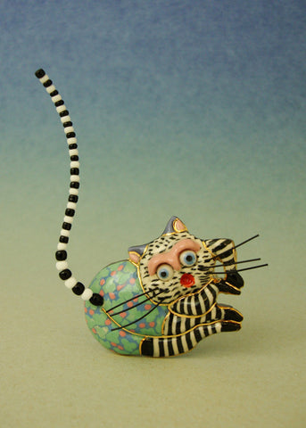 Cat Lazia porcelain and mixed media pin