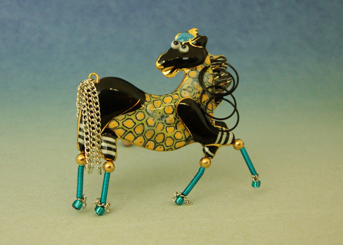 Horse Porcelain and mixed media pin