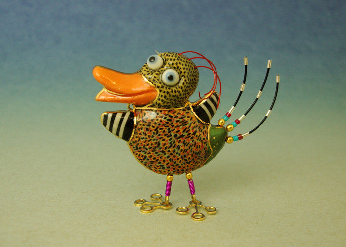 Baby Duck porcelain and mixed media pin