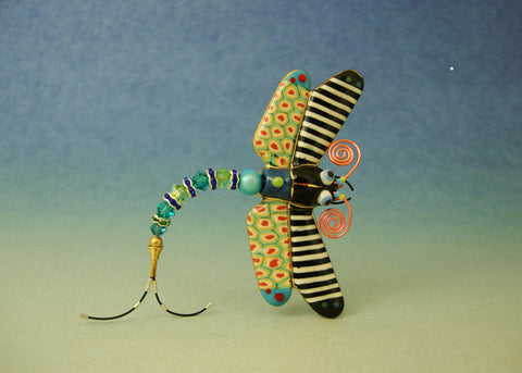 Dragonfly Porcelain and mixed media pin