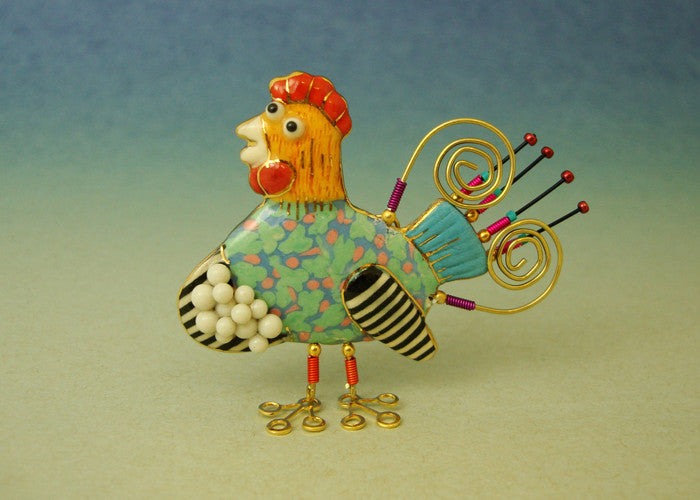 Chicken Porcelain and mixed media pin