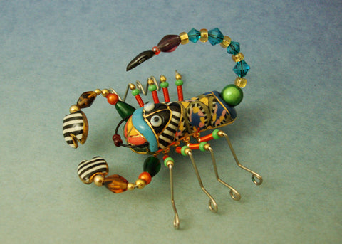 Scorpion porcelain and mixed media pin