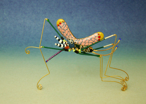 Mosquito porcelain and mixed media pin