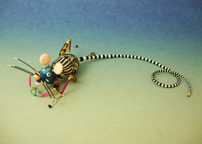 Mouse Tailie porcelain and mixed media pin