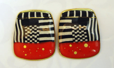 Rounded Rectangular Earrings (Red, black and white)