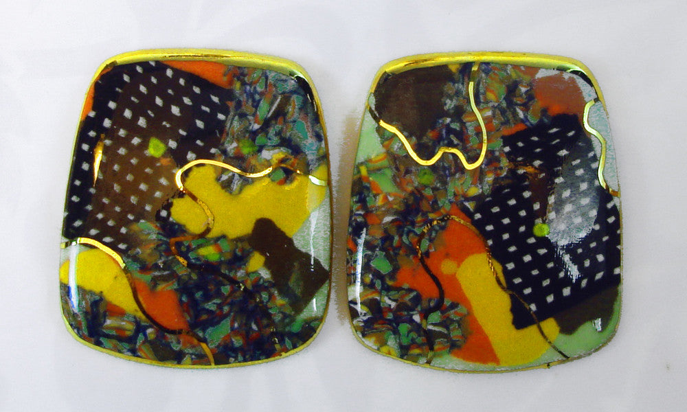 Rounded Rectangular Earrings (multicolor)