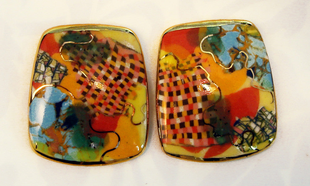 Rounded Rectangular Earrings (multicolor red-orange)