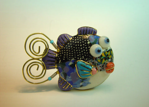 Blow fish porcelain and mixed media pin