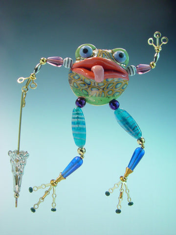 Frog Porcelain and mixed media pin