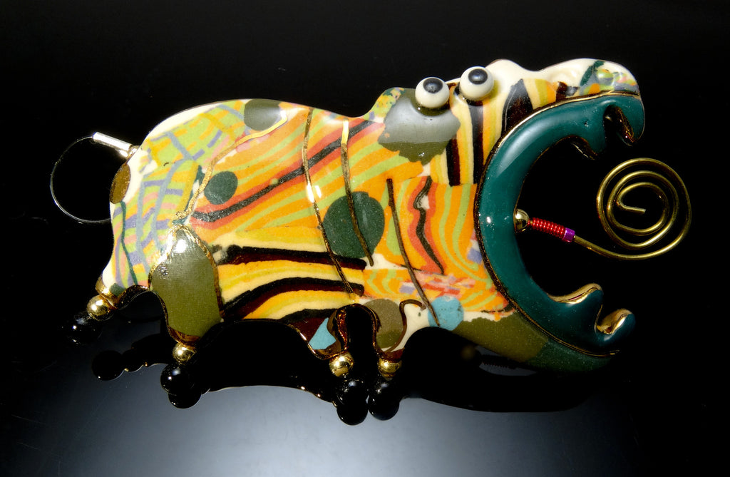 Hippo Porcelain and mixed media pin