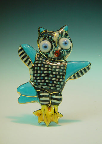 Dancing Owl Porcelain pin
