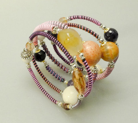 "Mixed Stone Memory Wire Wrap Bracelet "" Pink Sunrise """