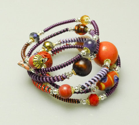 "Mixed Stone Memory Wire Wrap Bracelet "" Red Sunset  "" Mwirecitrus"
