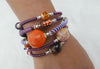 "Mixed Stone Memory Wire Wrap Bracelet "" Red Sunset  """