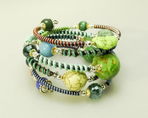 """Sea foam"" Mixed Stone memory wire wrap bracelet"