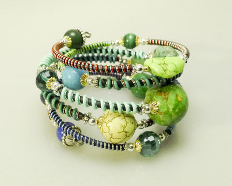"Mixed Stone Memory Wire Wrap Bracelet "" Sea foam  """