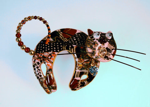 cat (brown) porcelain and mixed media pin
