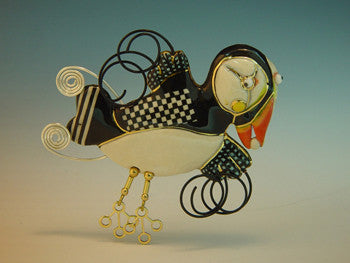 Puffin porcelain and mixed media pin