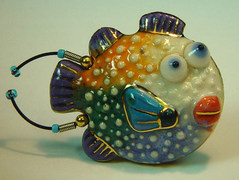 Puffin Pufferfish porcelain and mixed media pin