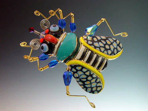 Fly Porcelain and mixed media pin