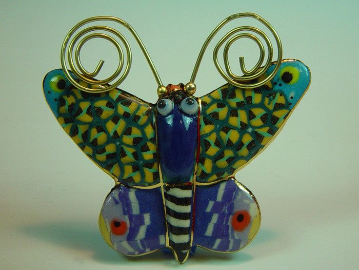 Betsy Butterfly porcelain and mixed media pin