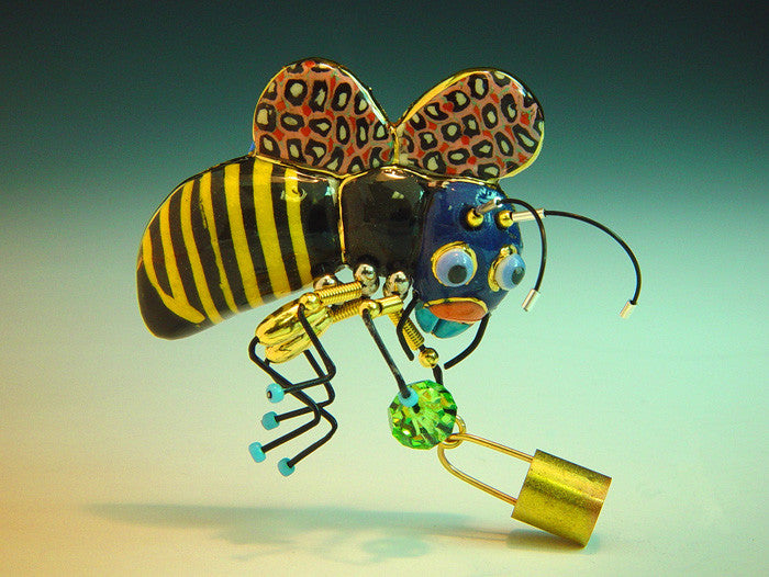 Bee with honey Basket porcelain and mixed media pin
