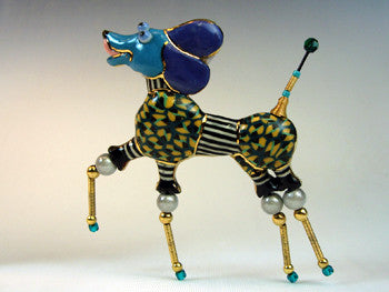 Poodle Pride porcelain and mixed media pin