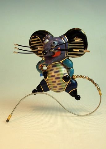 Mouse Mousi porcelain and mixed media pin