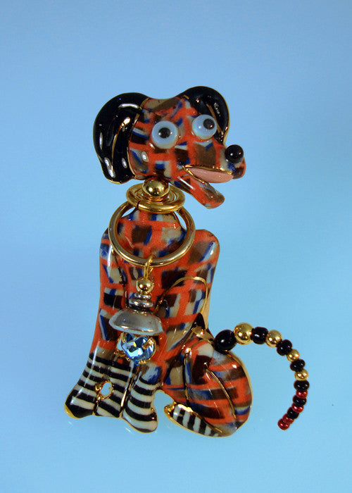 Dog Dalmatian Porcelain and mixed media pin