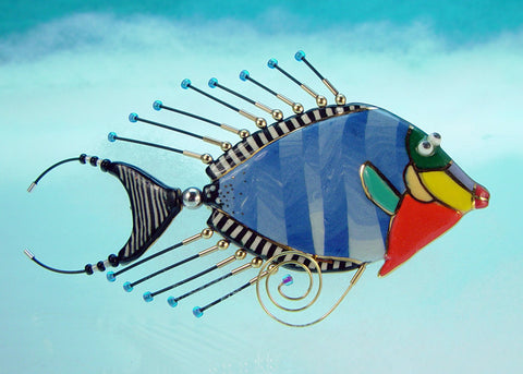 Tang Fish mixed media and porcelain pin