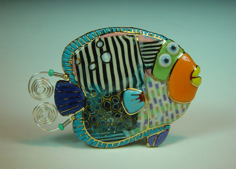 Angela Angel fish porcelain and mixed media pin