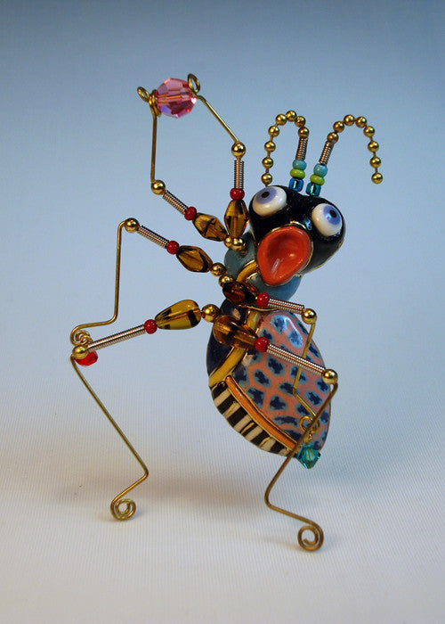 Ant Lip-sync porcelain and mixed media pin