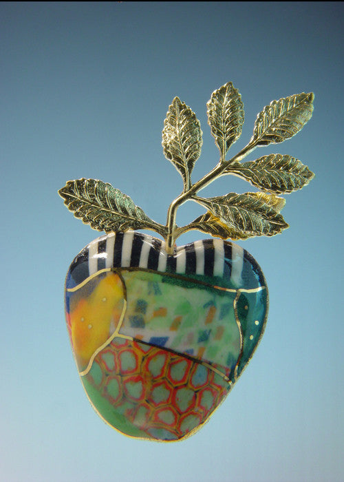 Multi color Apple porcelain and mixed media pin