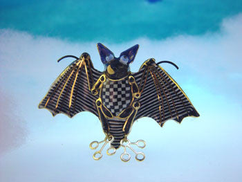 Bat porcelain and mixed media pin