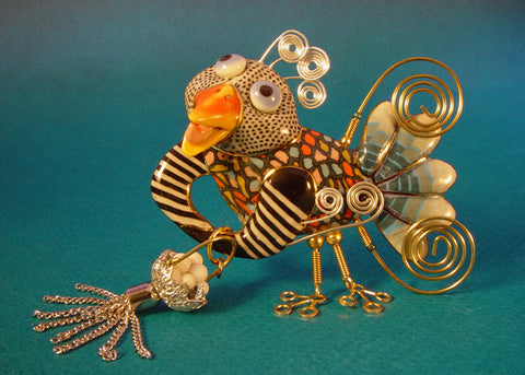 Big bird with Tassled Basket porcelain and mixed media pin