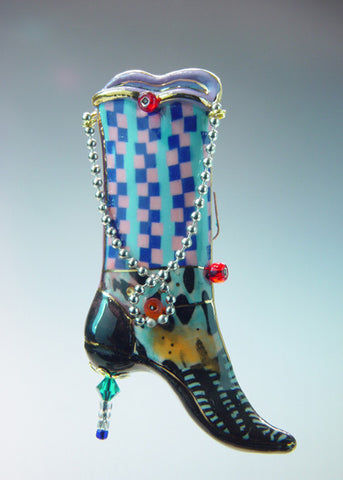 High Boots Porcelain and mixed media pin