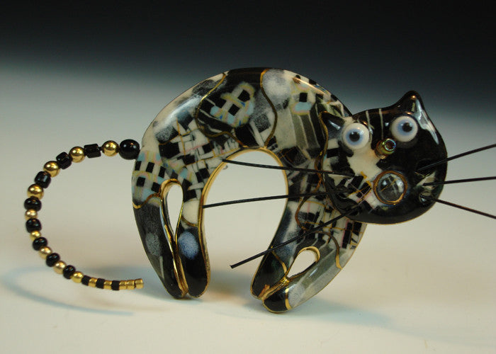 Black and White Arch Cat porcelain and mixed media pin